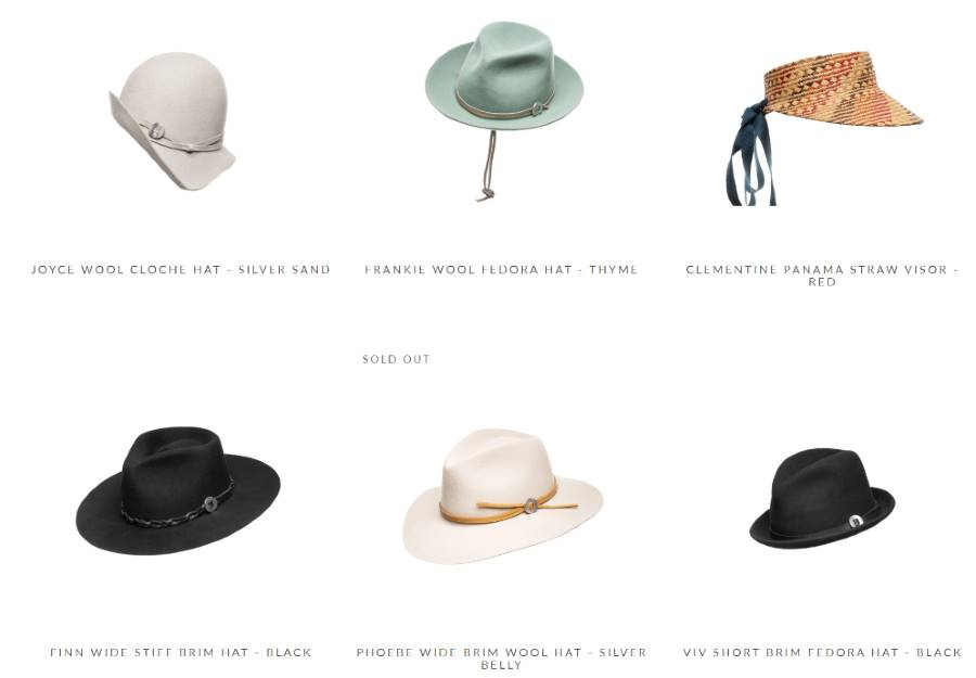 hats website shop design