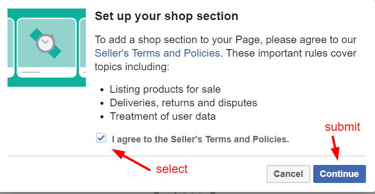 facebook shops terms
