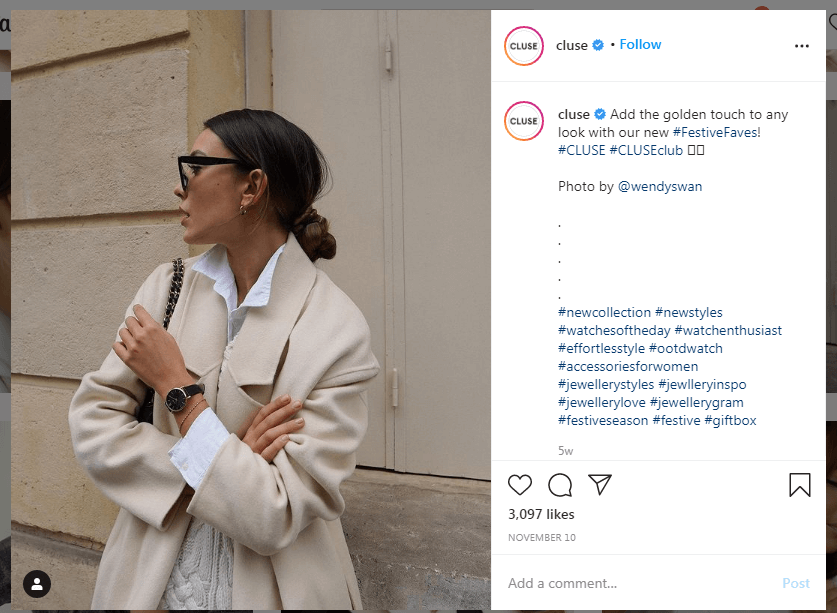 Instagram cluse User Generated Content